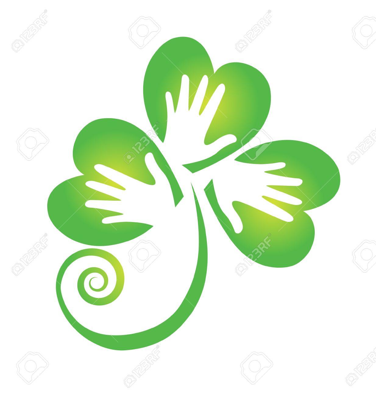 Clover hands logo Stock Vector - 18034951