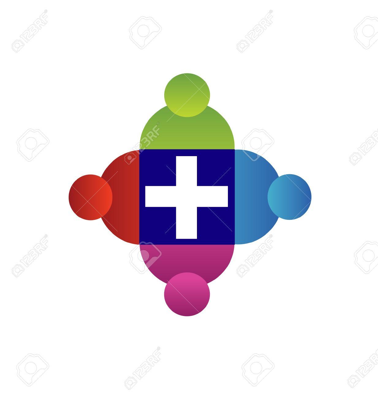Teamwork with a cross logo Stock Vector - 18150308