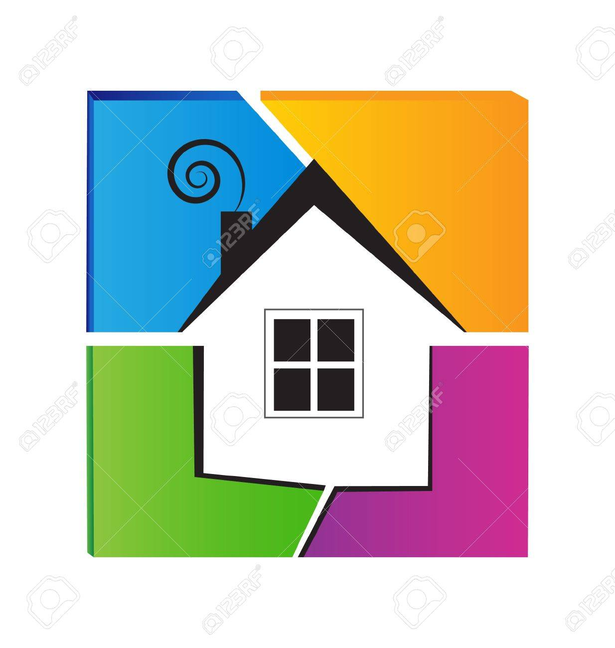 House and colored wall logo Stock Vector - 18150320