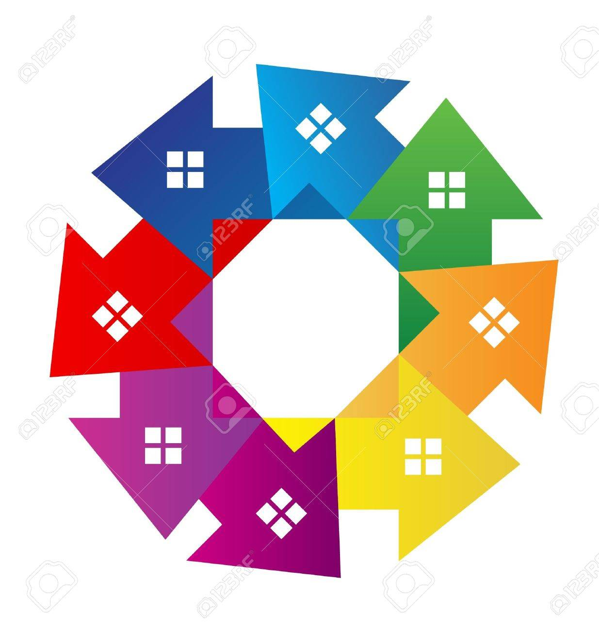 Housing Development Logo Houses Around Logo Vector