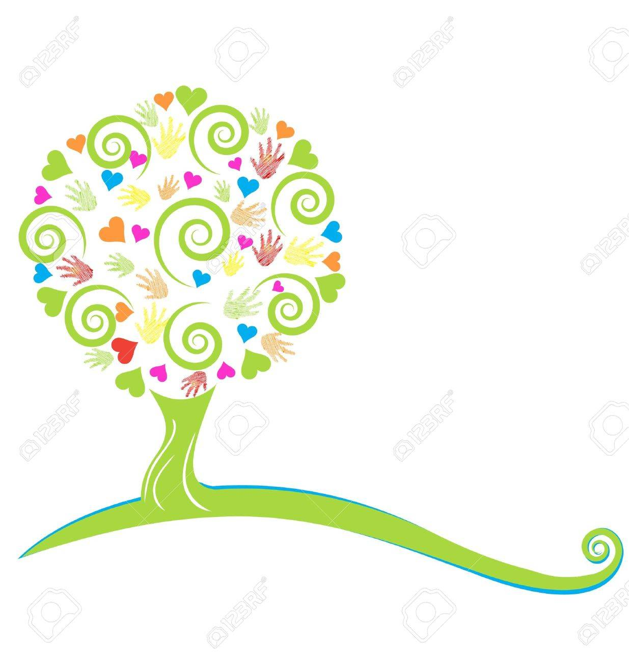 Tree ,hearts ,hands and swirly leaves logo Stock Vector - 18651711