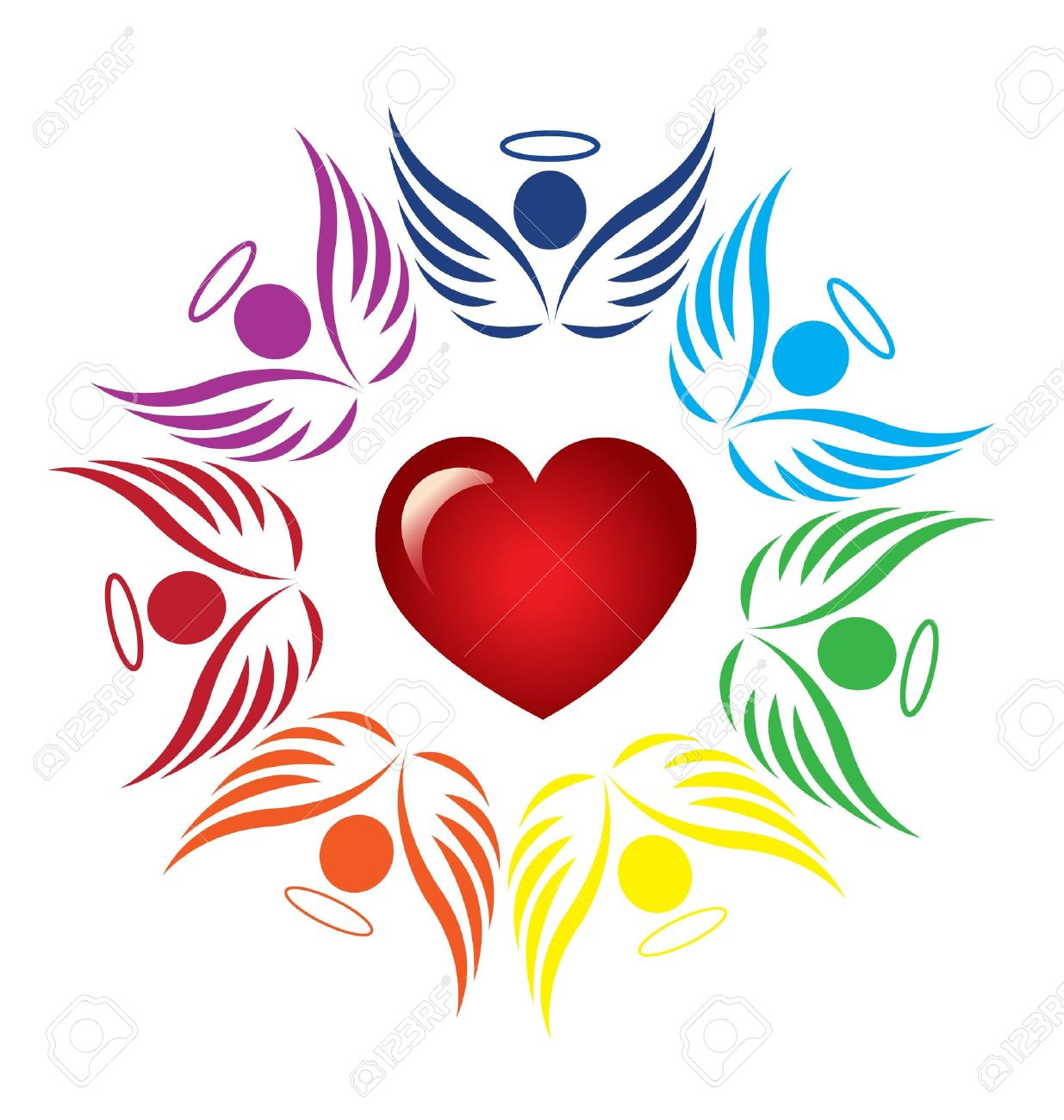 Heart stock illustration royalty free illustrations stock clip art - Teamwork Angels Around Heart Icon Vector Stock Vector 19214760