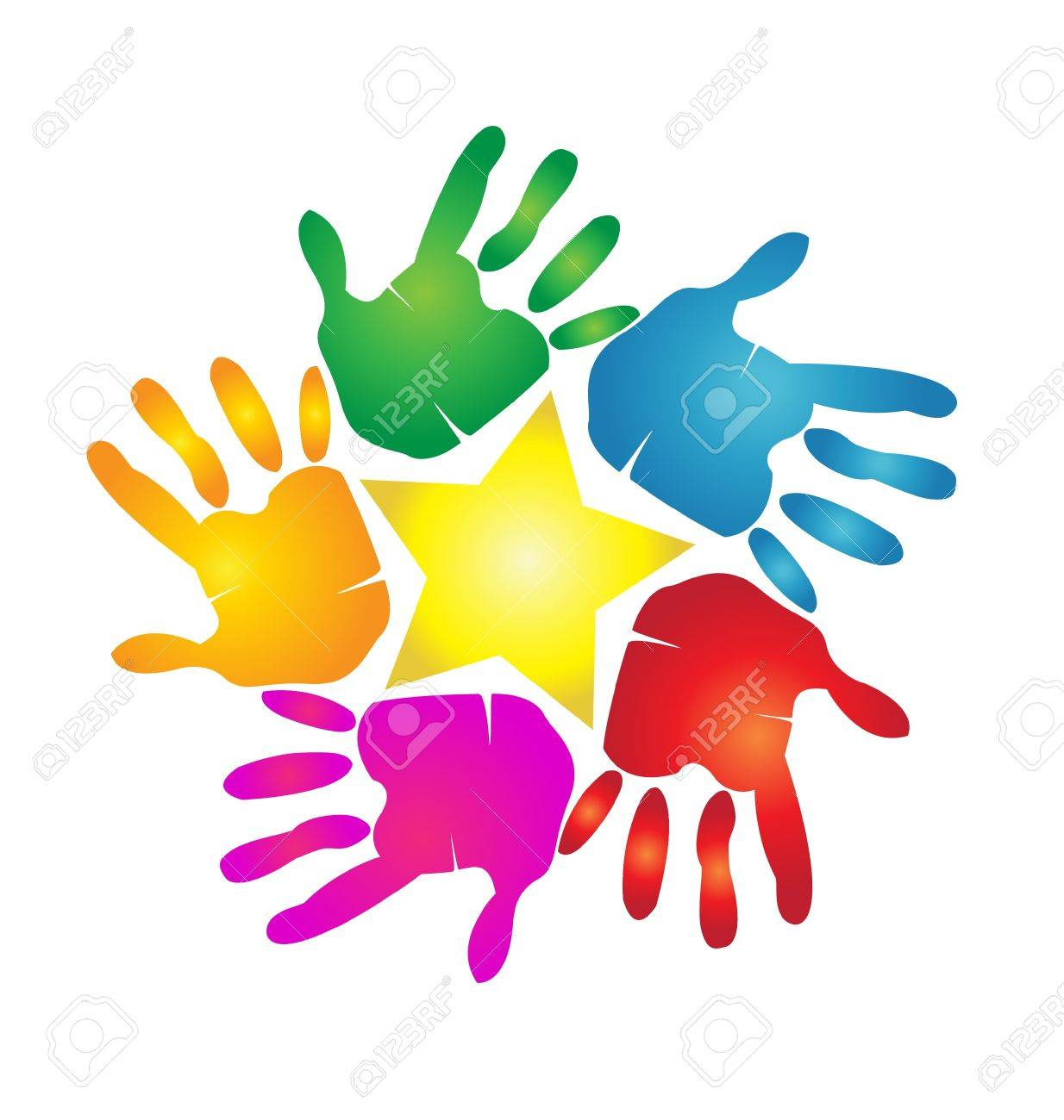 Hands Print Around A Star Royalty Free Cliparts, Vectors, And ...