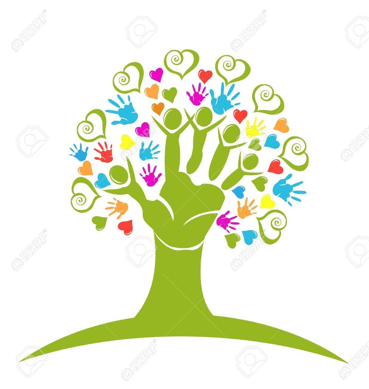 Tree hands and hearts figures vector - 20004981