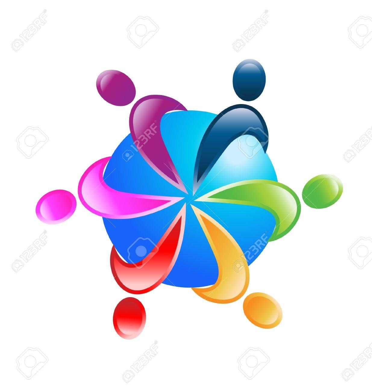 Teamwork around world icon Stock Vector - 20748615