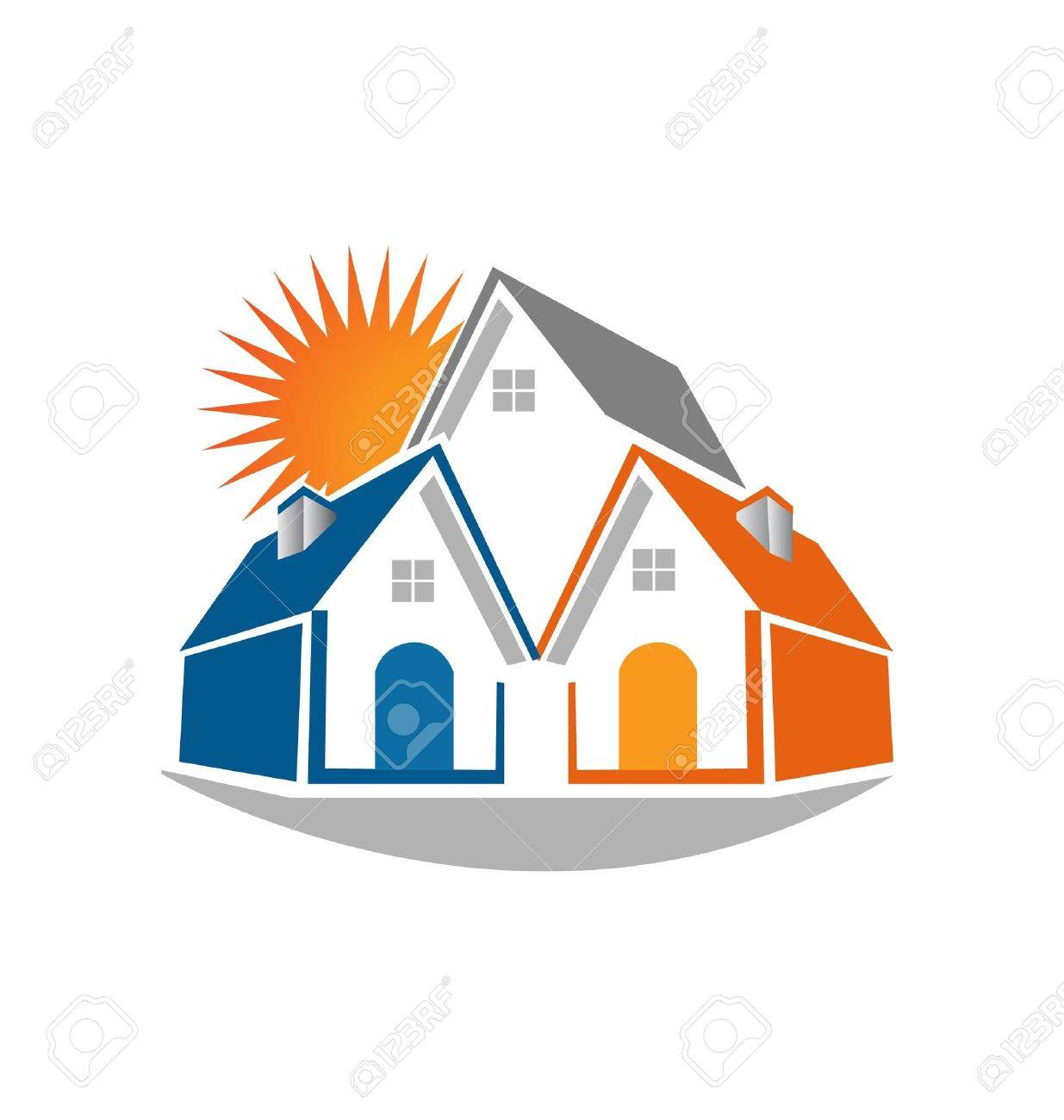 Real estate houses and sun icon illustration Stock Vector - 20743613