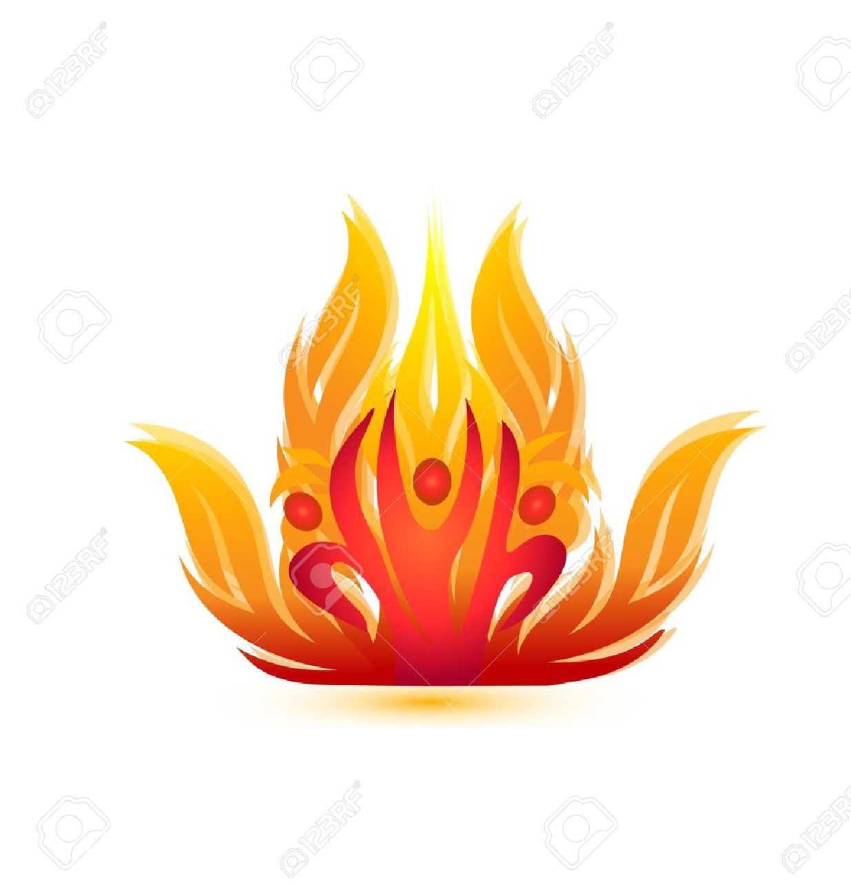People on fire icon-rescue team firemen symbol Stock Vector - 21454530