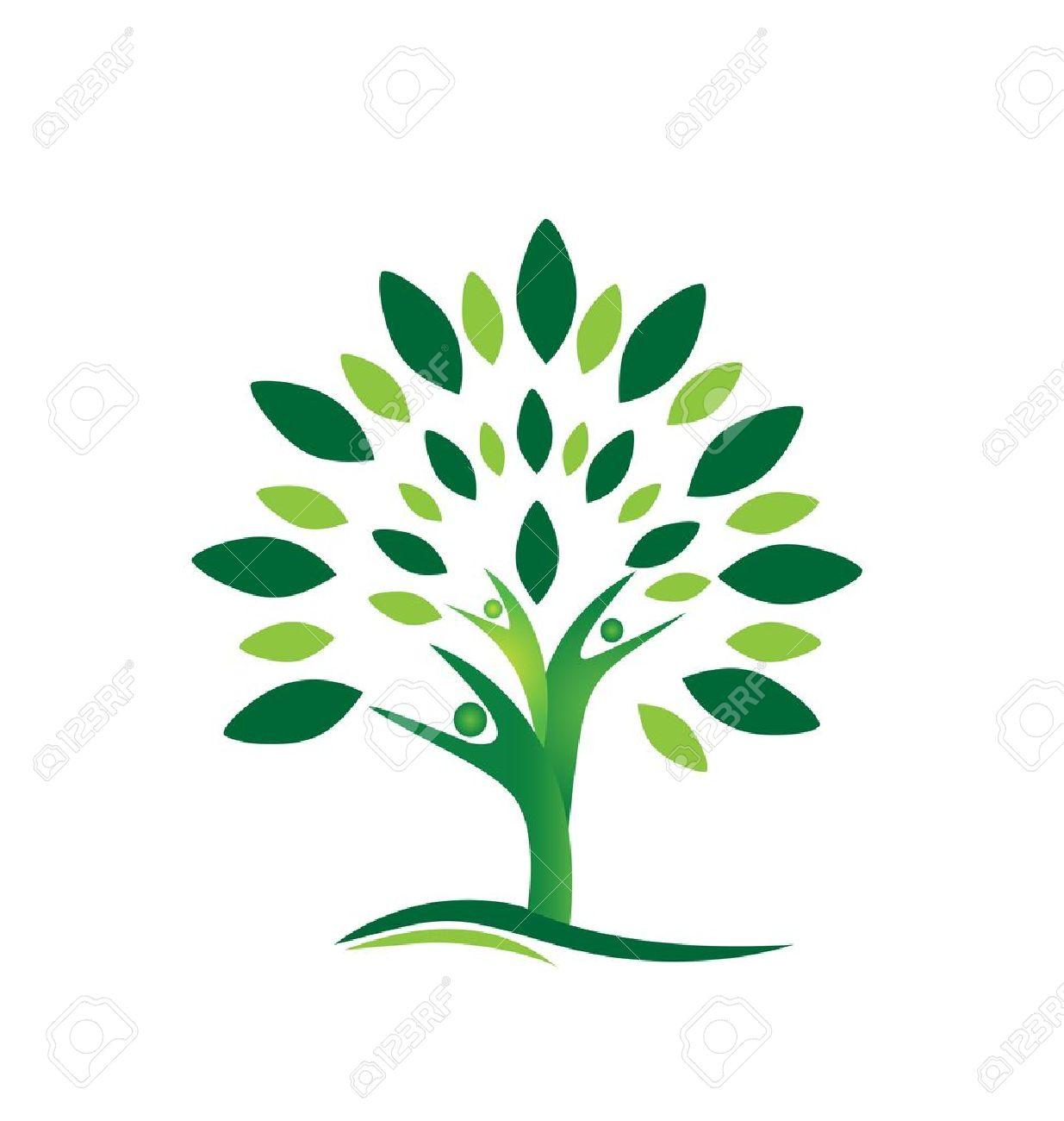 Teamwork people tree abstract icon background Stock Vector - 21769988
