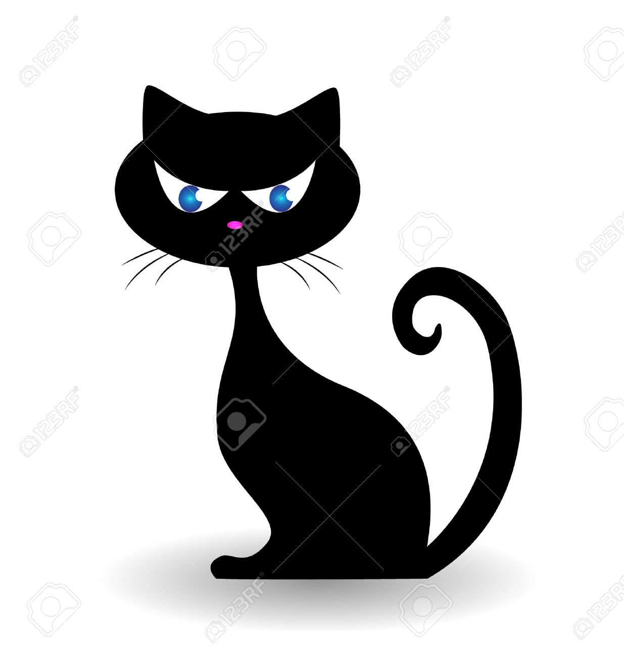black cat icon illustration stock vector 22527575 - Black Cat Silhouette Halloween