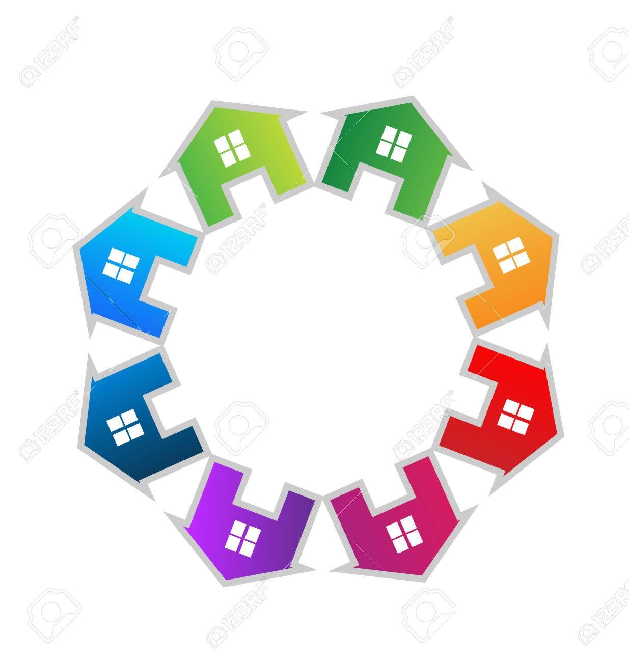 Teamwork houses icon vector Stock Vector - 22801556