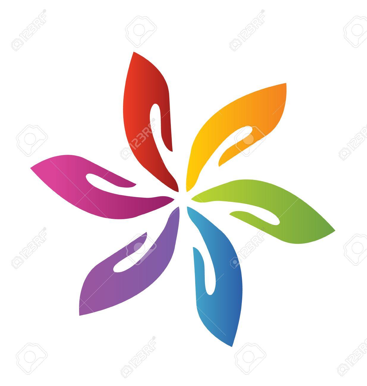 Hands teamwork flower icon vector Stock Vector - 23192285