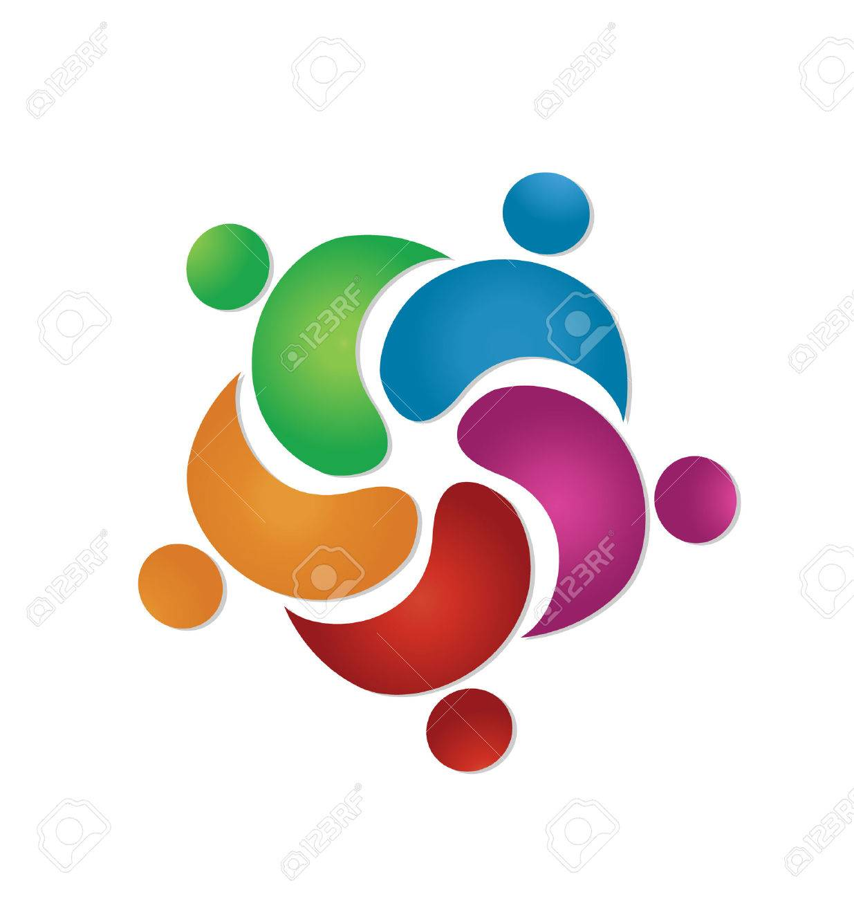 Teamwork friendship 5 people icon vector Stock Vector - 23321889