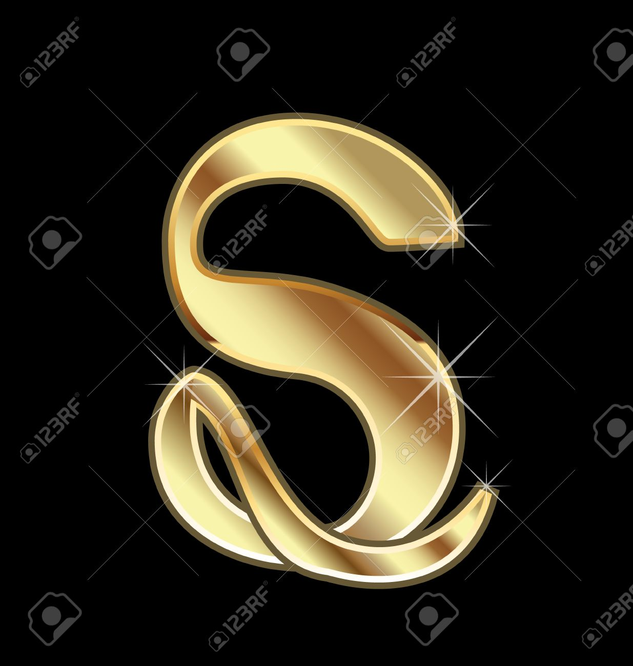 Gold Fancy Letter S Icon Vector Royalty Free Cliparts Vectors And
