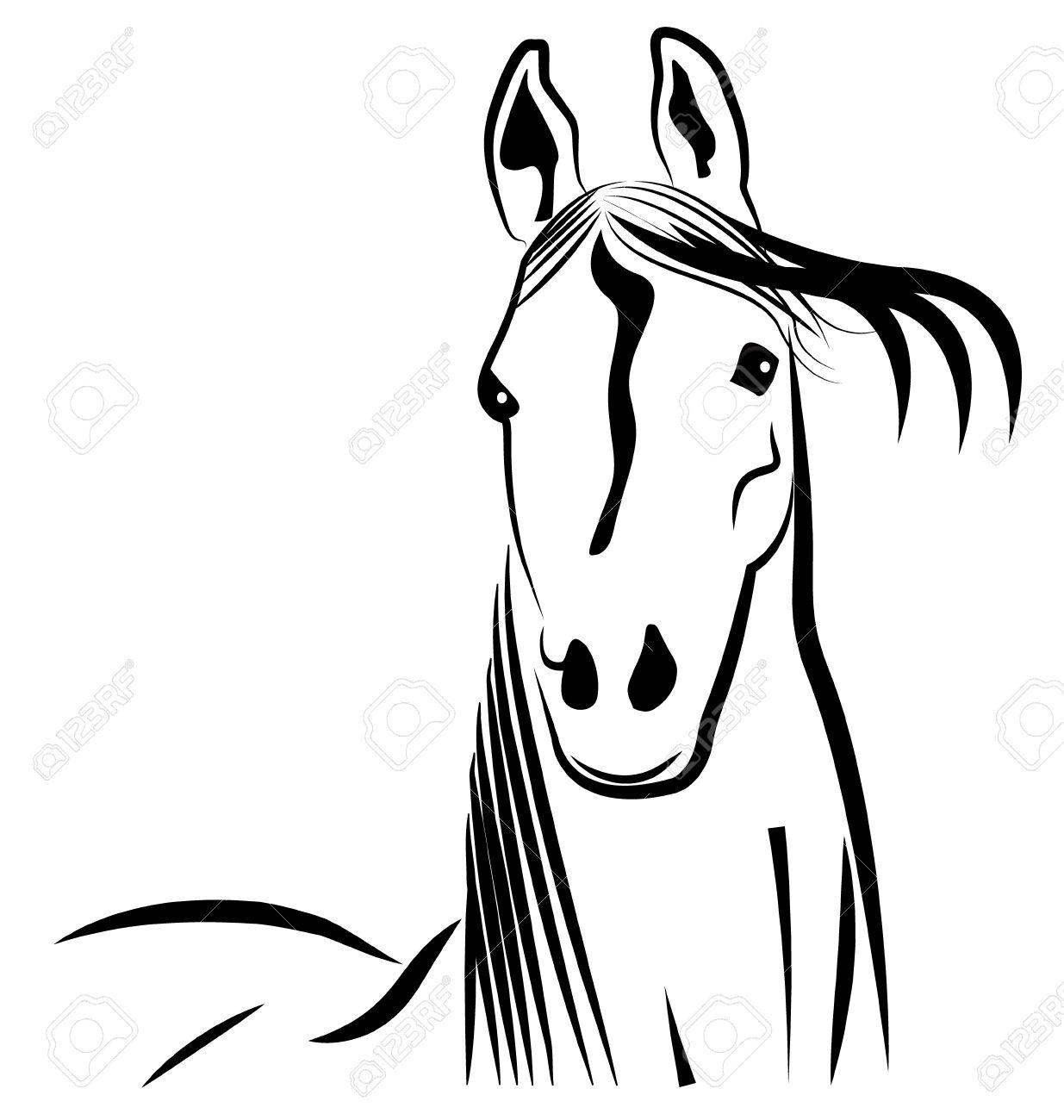 Pferdekopf Stilisierten Porträt Symbol Vektor Lizenzfrei Nutzbare ...