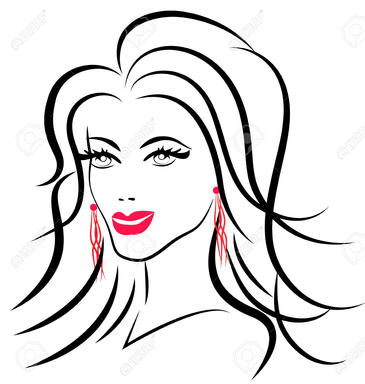 Beauty Face Fashion Woman Icon Silhouette Stock Vector