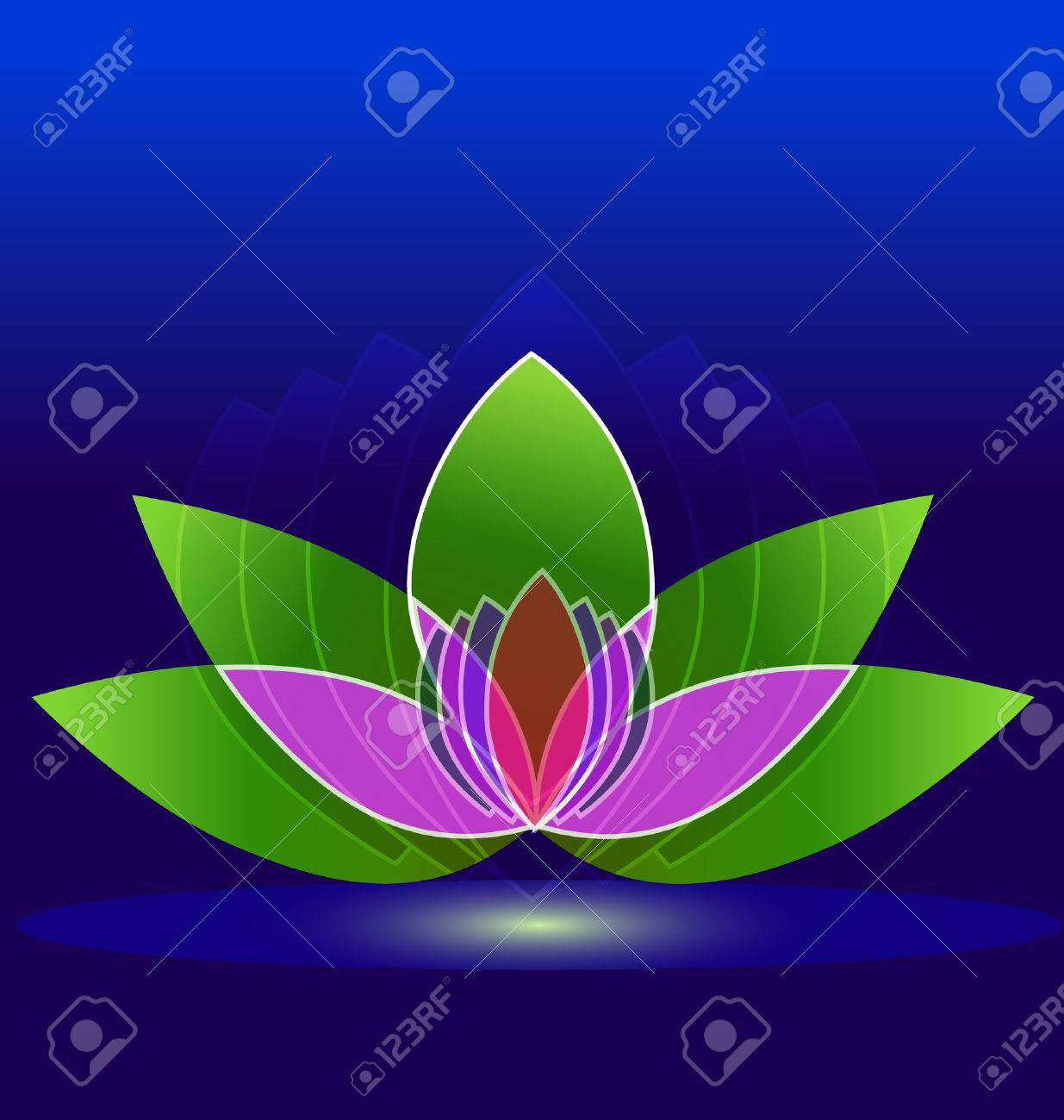 Lotus Flower On Water Icon Design Background Royalty Free Cliparts