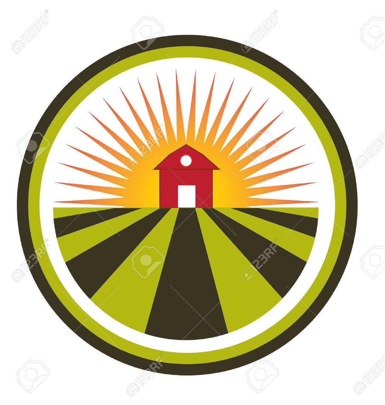 sun agriculture landscape and farm harvest label icon royalty free rh 123rf com Farmer Vector Art Free Cartoon Pictures of Farms and Crops Troctors