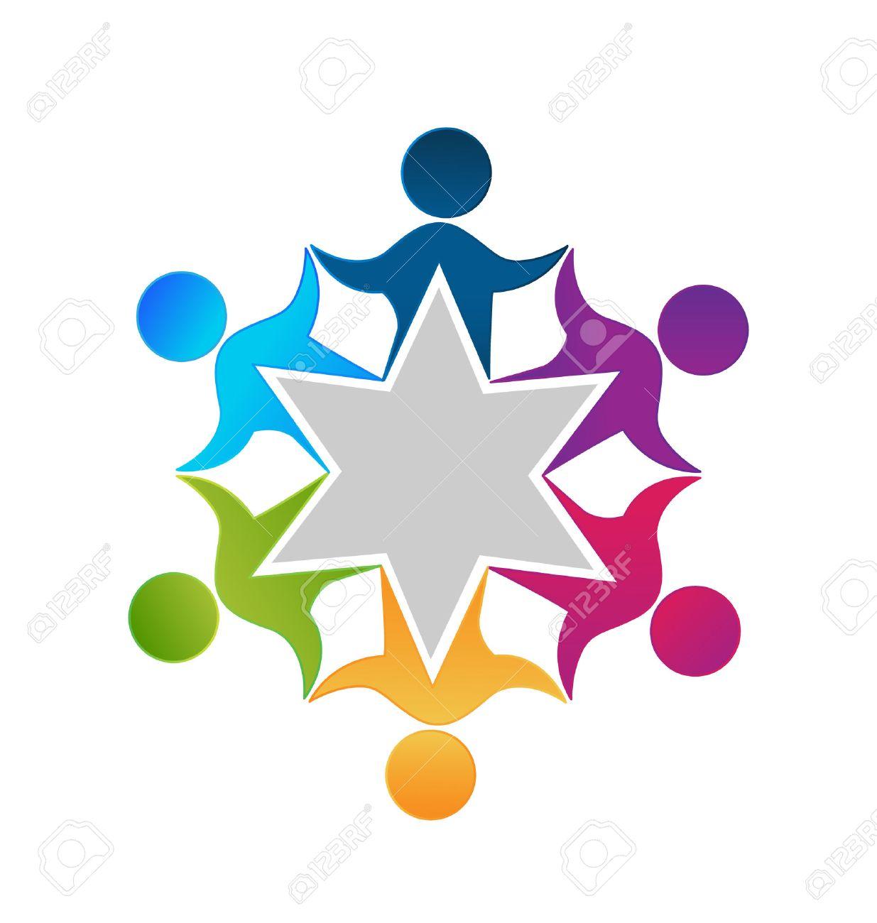 Teamwork Einheit Beschäftigten Menschen Logo-Design Vektor ...