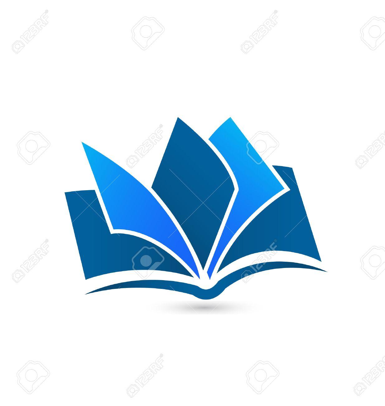 Book illustration blue icon design vector background template - 34198185
