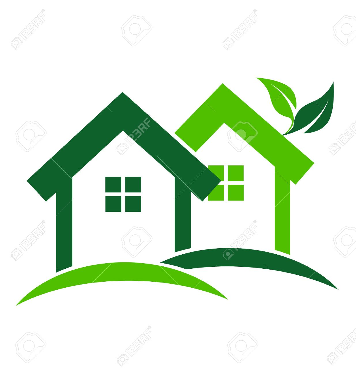 Green Houses Real Estate Business Card Design Vector Icon