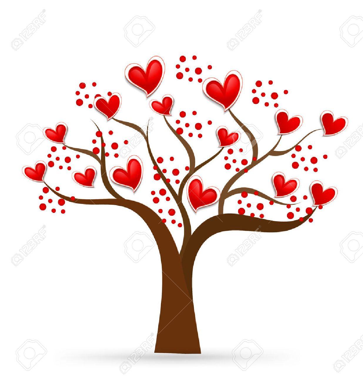 Arbre De Lamour Valentines Coeurs Carte Visite Didentit
