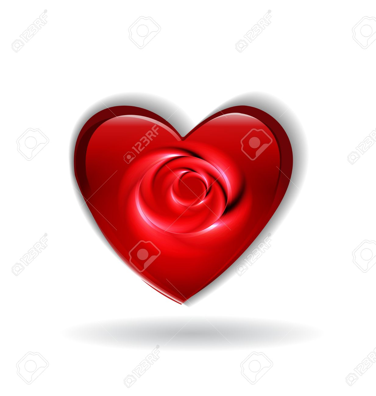 Valentines Heart With Rose Flower Abstract Icon Vector Template ...