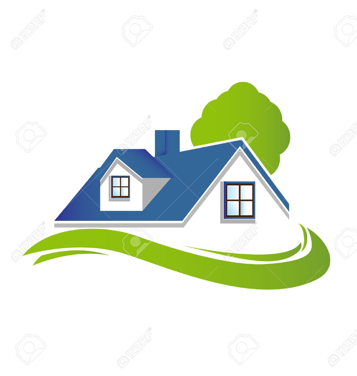 Houses Apartments With Tree And Green Garden Vector Icon Logo ...