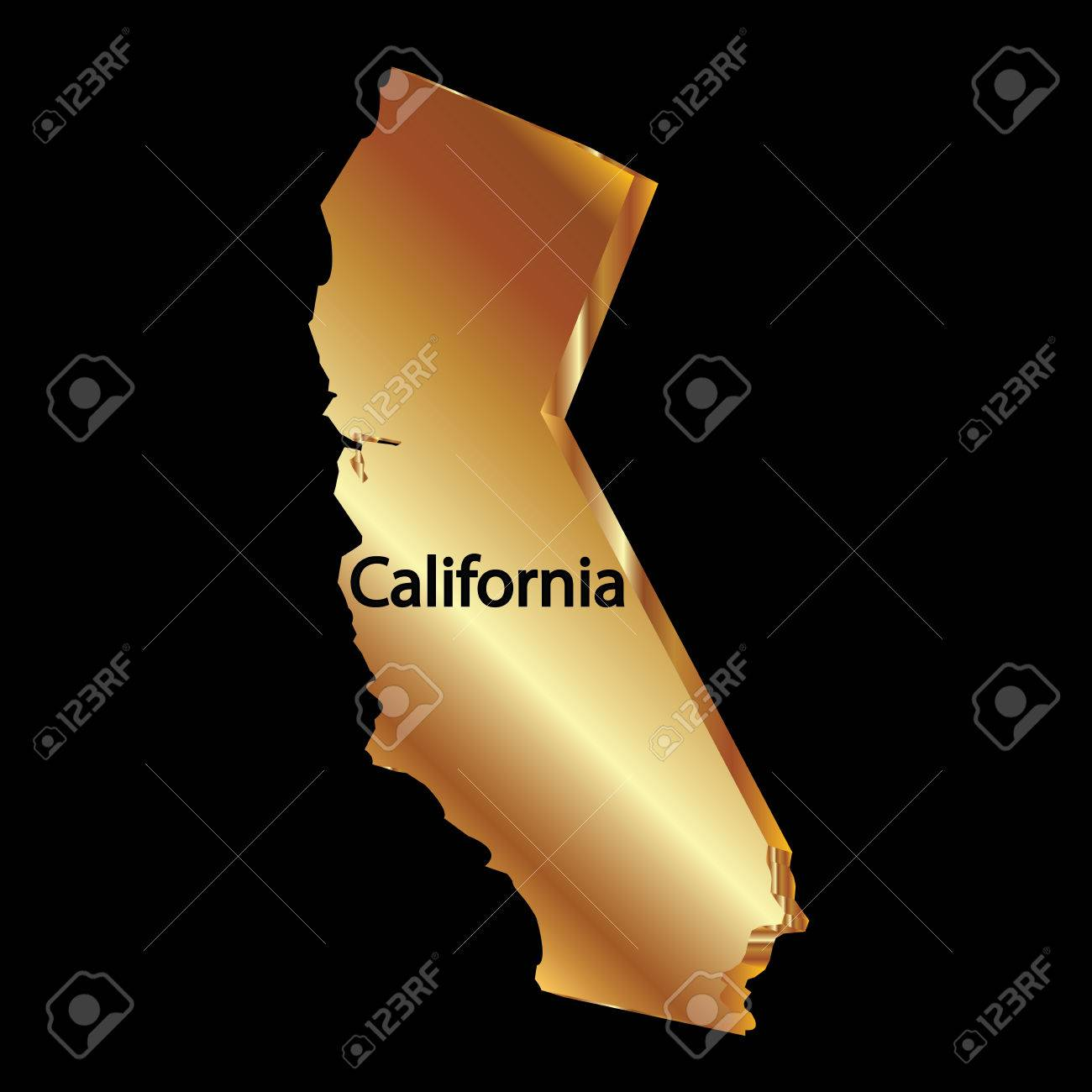 Gold california state 3D vector map - 37240092