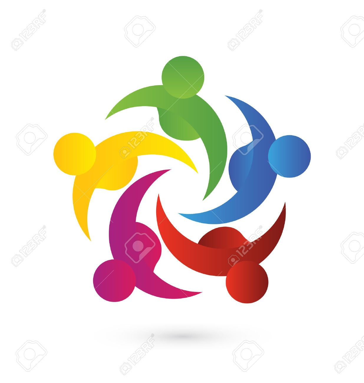 Concept of business,employees,community, union, goals,solidarity , partners,children - vector graphic. This logo template also represents colorful kids playing together holding hands in circles, union of workers, employees meeting - 39169083