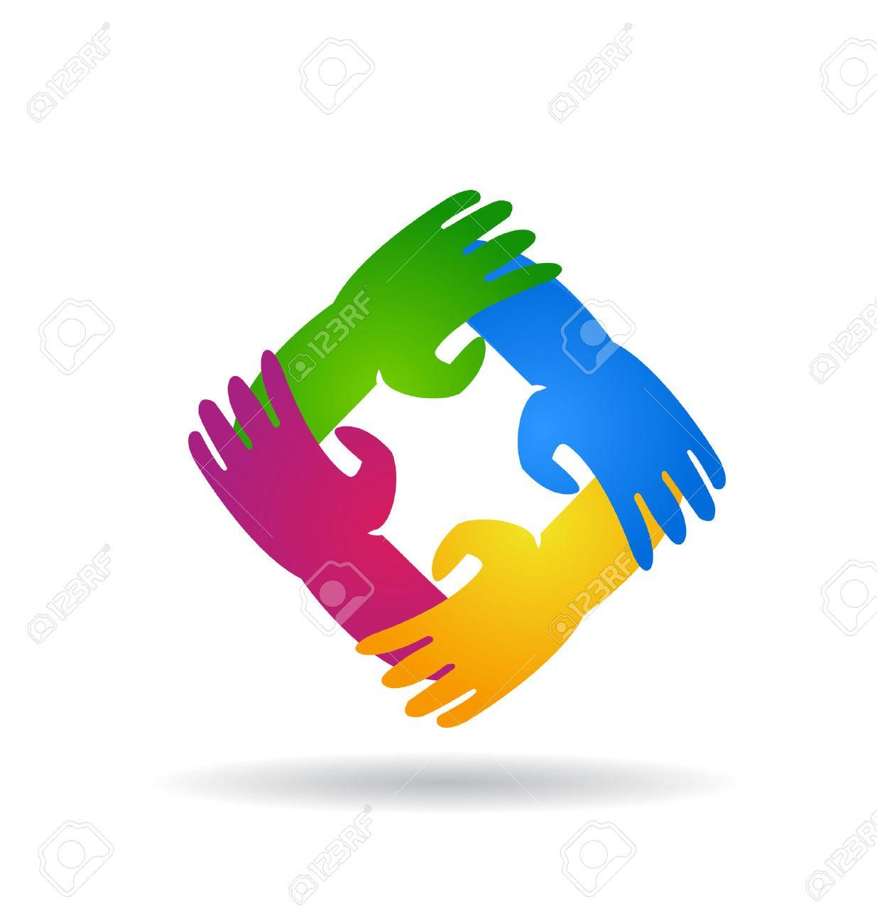 Teamwork four hands around colorful vector icon design logo - 39943009