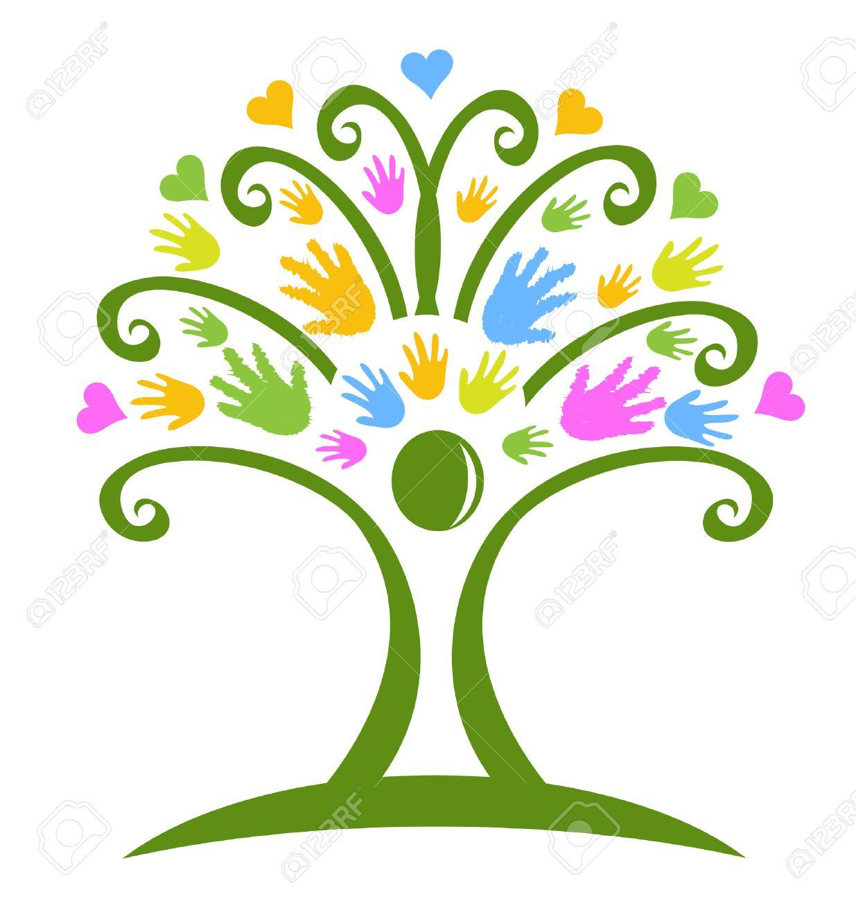 Tree hands childcare symbol logo vector - 43952294