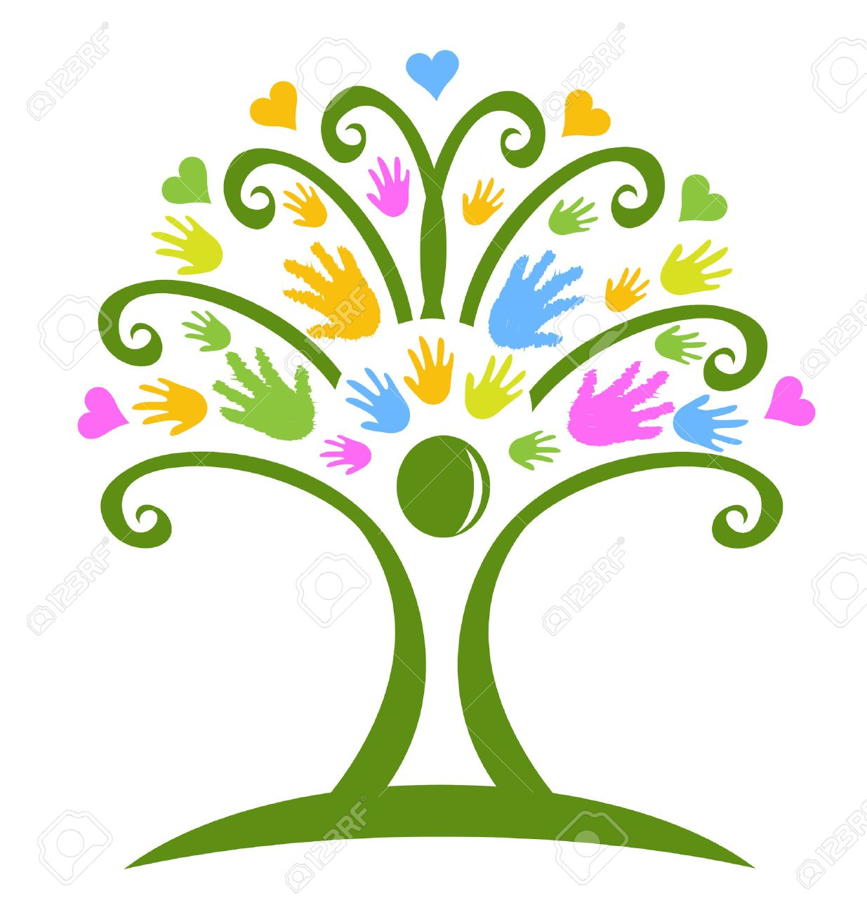 tree hands childcare symbol logo vector royalty free cliparts rh 123rf com child care center clipart child care centre clipart