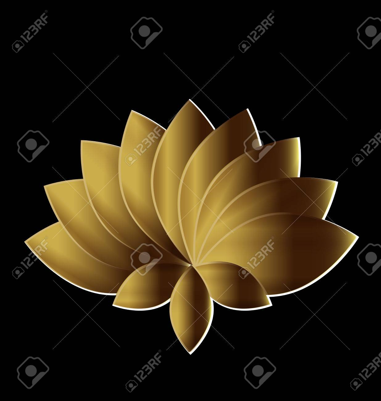 Lotus Symbol Gold Flower Logo Art Royalty Free Cliparts Vectors