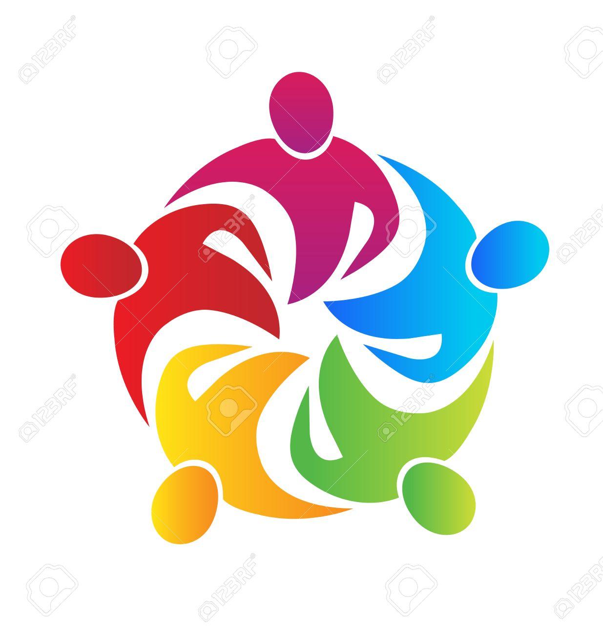 Teamwork Meeting Business People In A Hug Logo Vector Image ...