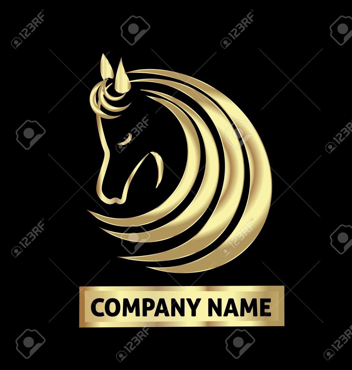 Gold-Pferde-Logo Identität Visitenkarte Vektor-Design- Lizenzfrei ...