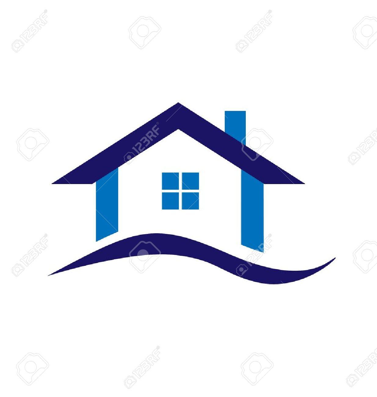 Real Estate Blue House Logo Business Design Royalty Free Cliparts ...