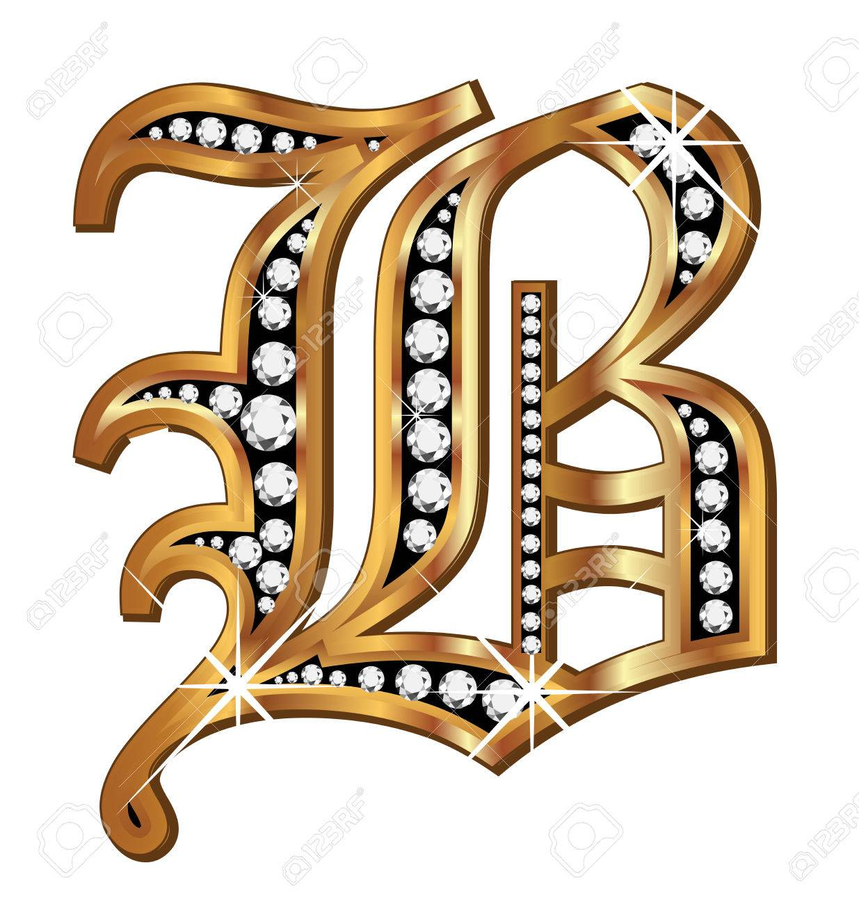 B gold and diamond bling old vintage letter