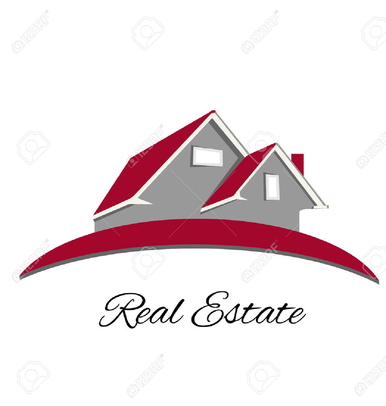 Real Estate Red House Logo Vector Design Royalty Free Cliparts