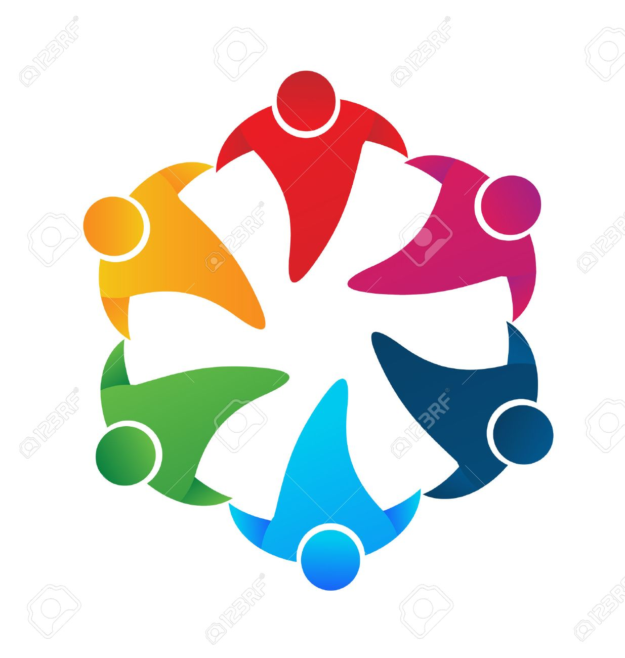 teamwork people holding hands around vector image logo design rh 123rf com  holding hands logo design