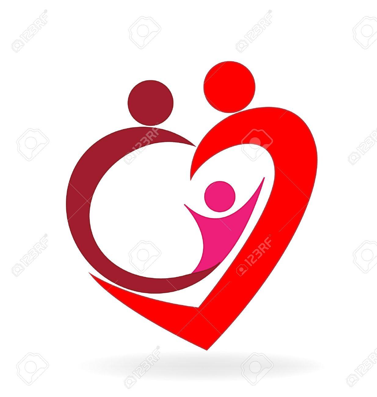 Family Love Heart Symbol Logo Vector Image Royalty Free Cliparts