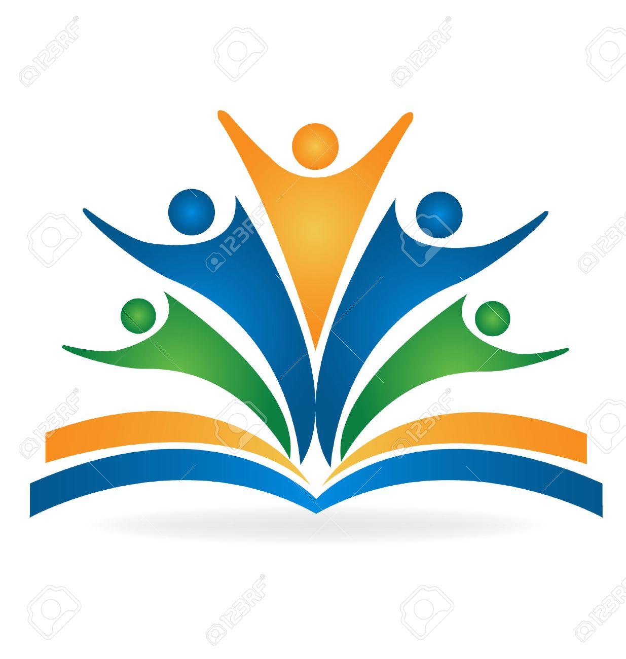 Book teamwork education logo vector image - 53035441