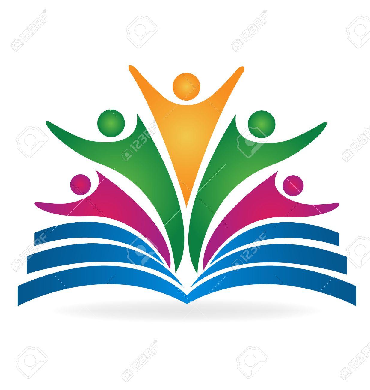 Book teamwork education logo vector image - 53035443