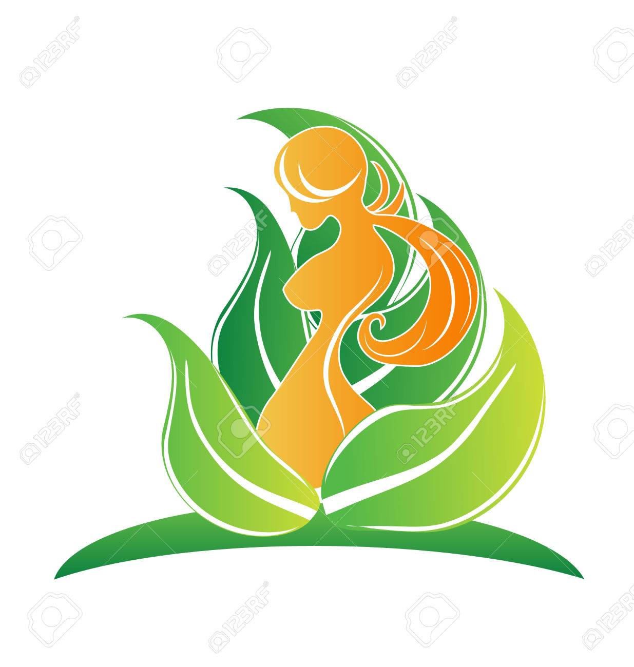 Beauty Body Girl With Leafs Symbol Logo Icon Vector Image Stock Photo