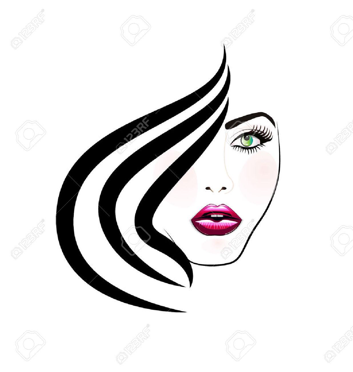 Face of pretty woman silhouette icon image - 55073097