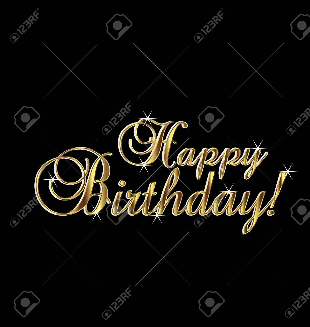 Happy Birthday In Gold Elegant Vintage Royalty Free Cliparts