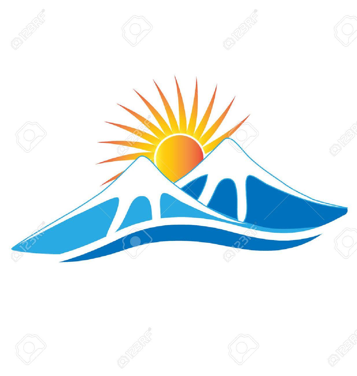 Mountains ice with sun vector image logo design - 57119385