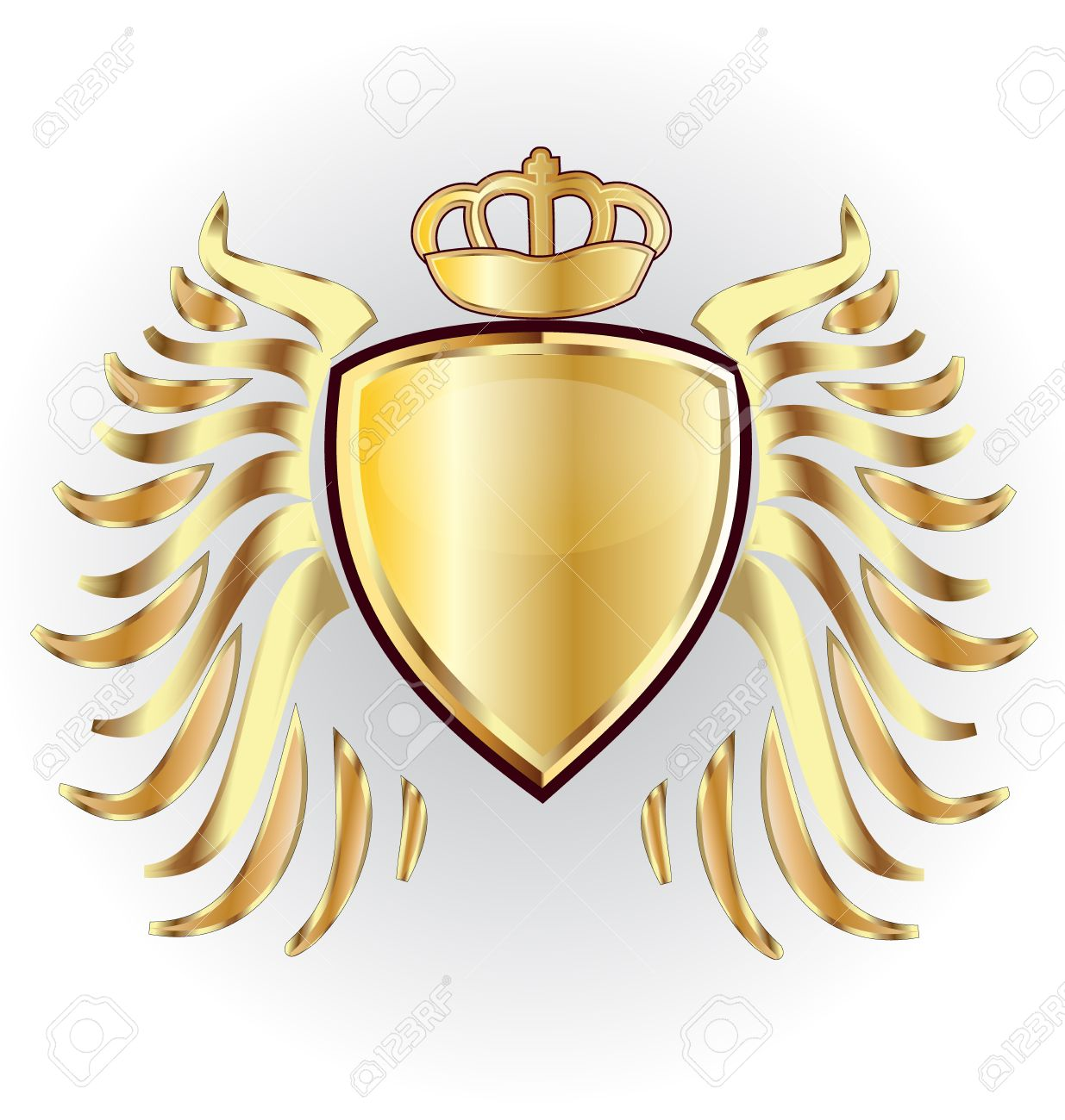 Gold shield crown and wings vector image - 57119407