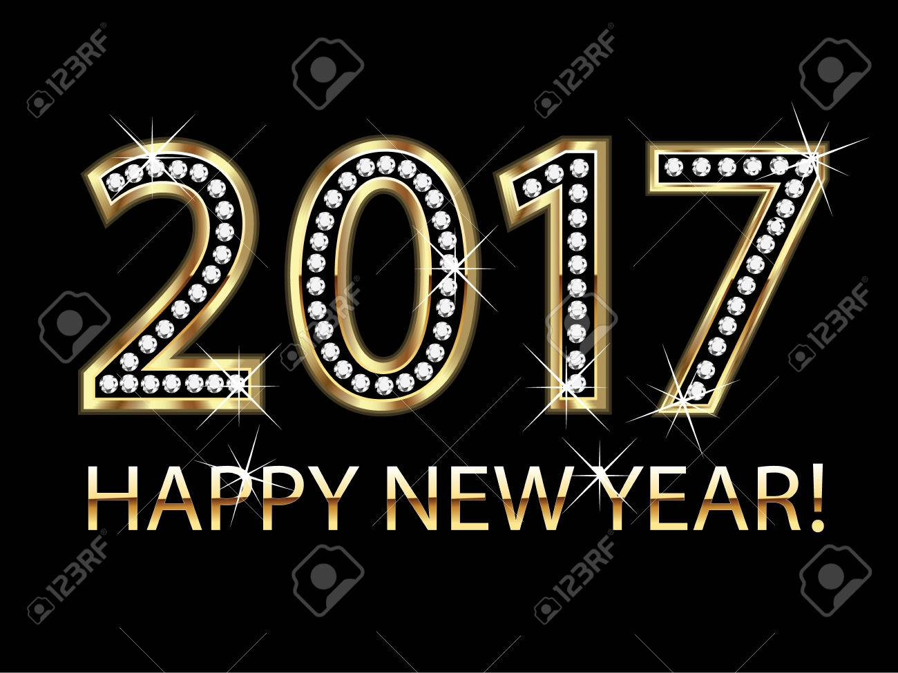 Happy new year 2017 gold background vector - 58532151