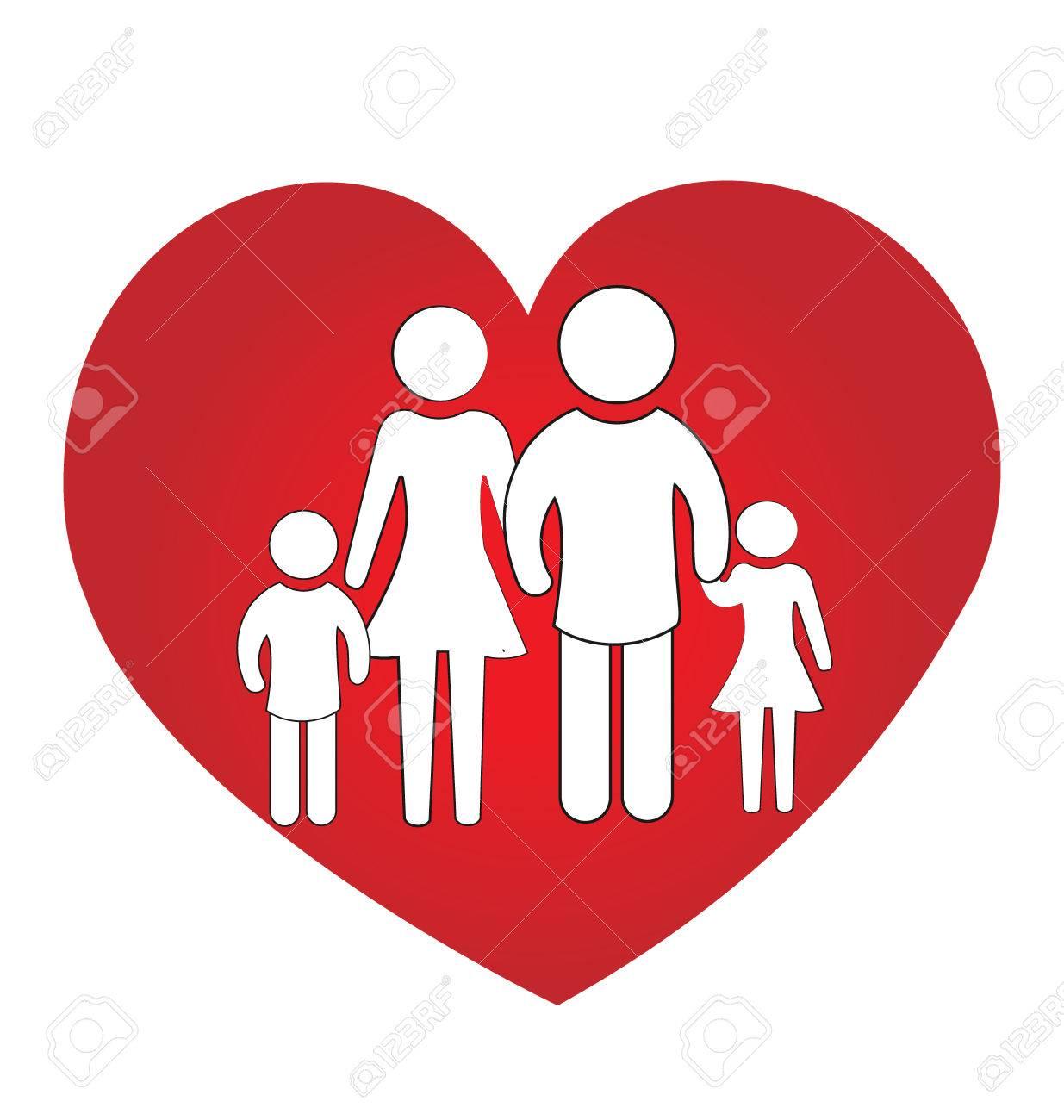 Familia Amor Del Corazón Concepto De Unidad Ilustraciones
