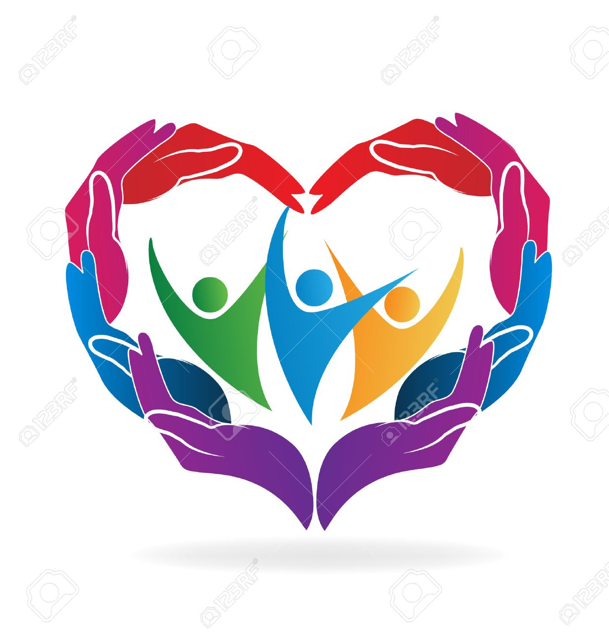 Hands heart love caring people vector image - 60639314